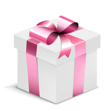 Illustration pour Gift Box white with pink bow isolated on white. Vector Illustration. EPS10 opacity - image libre de droit