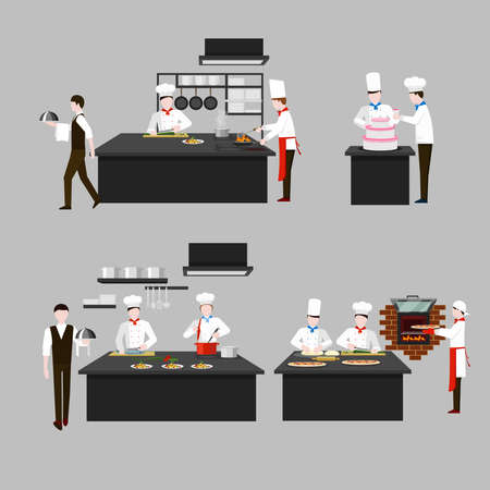 Illustration for Cooking process in restaurant kitchen. Chef fry and cook, character people, waiter confectioner scullion. Vector flat illustration - Royalty Free Image