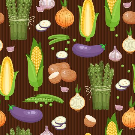 Illustration pour Seamless background asparagus, corn and peas on the brown-stripes. Vector illustration - image libre de droit