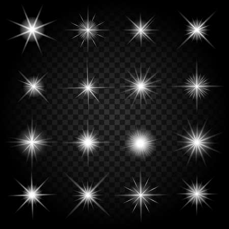 Illustration for Stars bursts with sparkles and glowing light effects. Graphic bright set, burst firework twinkle, vector illustration - Royalty Free Image