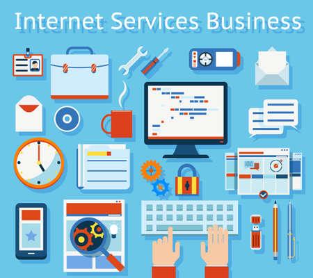 Illustration pour Colored Internet Service Business Concept Graphic Design on Light Blue Background. - image libre de droit