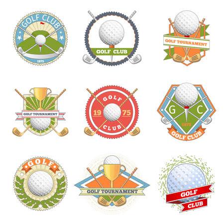 Illustration pour Golf club logo set. Golf labels and badges. Logotype competition or game, tournament symbol, vector illustration - image libre de droit