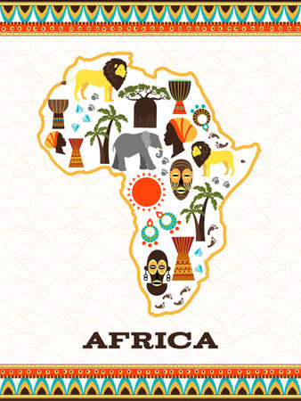 Illustration pour Africa map with african icons. Country and animal, djembe and national folklore, diamond and travel, vector illustration - image libre de droit