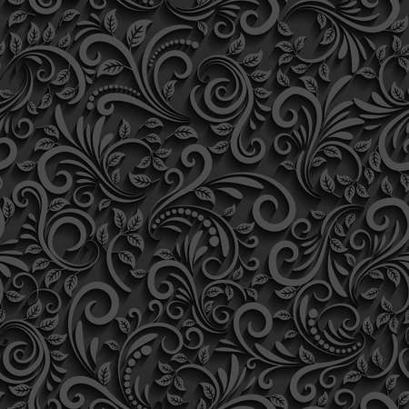 Illustration for Vector black floral seamless pattern with shadow. For invitation cards, decor and decorating weddings or other festive events - Royalty Free Image