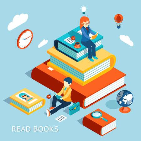 Illustration pour Read books concept. Education and school, study and literature. Vector illustration - image libre de droit