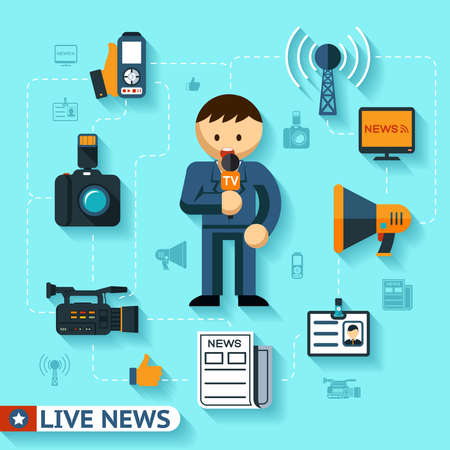 Illustration for news and mass media vector concept, journalist and journalism flat icons - Royalty Free Image