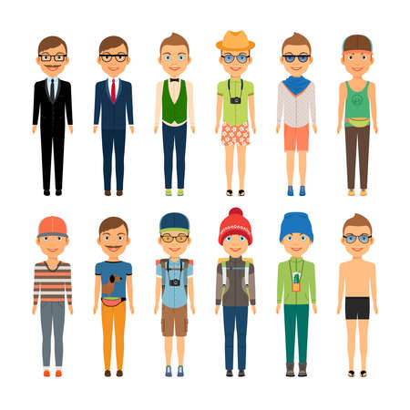 Illustration pour Various Cute Cartoon Boys in Assorted Clothing Styles - Business  Beach  Travel and Casual Fashion - Isolated on White Background - image libre de droit