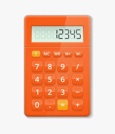 Illustration pour Vector realistic calculator. Button electronic, digit calculation, display minus and plus illustration - image libre de droit