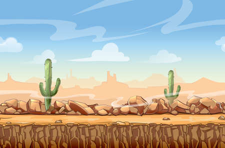 Illustration for Wild West desert landscape cartoon seamless background for game. Cactus and nature, interface vector illustration - Royalty Free Image