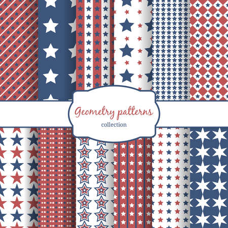 Illustration for Set of stars and stripes pattern seamless patterns. Row, line and diagonal and geometry. Vector illustration - Royalty Free Image