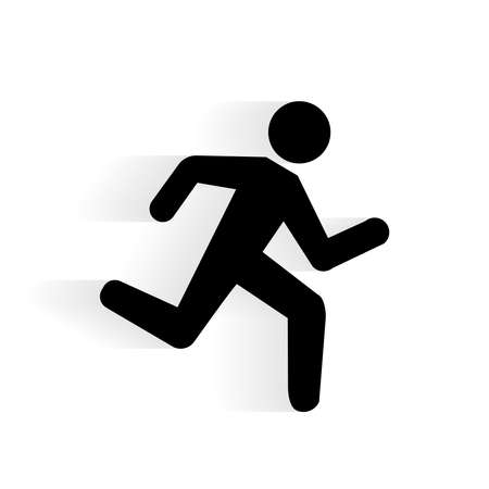 Illustration pour Vector Running Human Icon silhouette with shadow isolated on white - image libre de droit