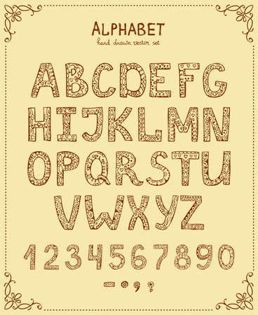 Illustration for Handwriting Alphabet, Vector Hand Drawn Font in vintage style - Royalty Free Image