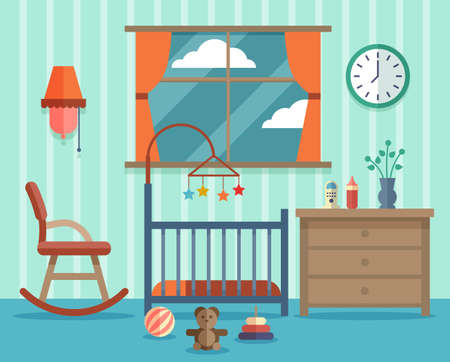 Illustration for Child room for the newborn baby. Rocking chair, design childhood. Vector illustration flat - Royalty Free Image
