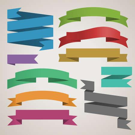 Illustration pour colorful vector set of retro ribbons for design template - image libre de droit