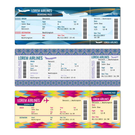 Illustration for Airplane vector tickets set for plane, flight airline, pass boarding illustration - Royalty Free Image