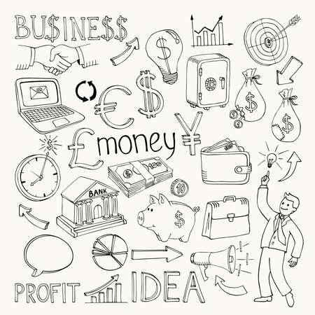 Illustration for Business doodles, hand doodle vector illustration on white - Royalty Free Image