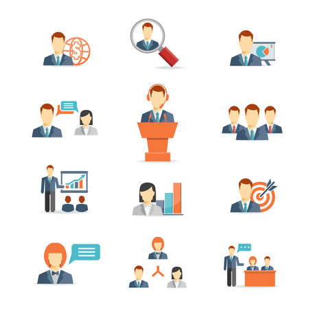 Illustration pour Set of colorful business people vector icons showing training  target  presentation  global  online  meetings  discussion  teamwork  analysis and graphs isolated on white - image libre de droit