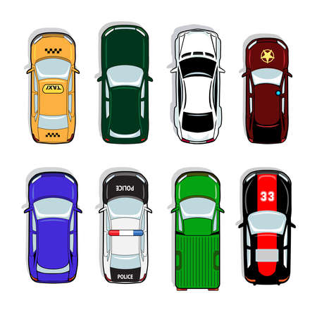 Illustration pour Police car and taxi, sports car and sedan icons. Transport sign, auto, drive and symbol, vector illustration - image libre de droit