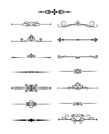 Illustration pour Floral design elements vintage dividers in black color. Page decoration. Vector illustration. Isolated on white background. Can use for birthday card, wedding invitations - image libre de droit