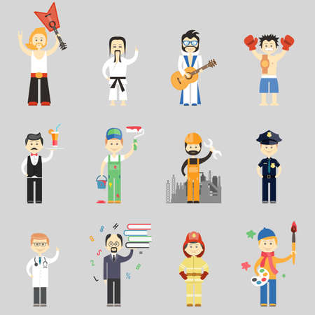 Illustration for Set of vector characters in different professions including martial arts  musicians  waiter  painter  construction worker  policeman  doctor  professor  fireman and artist - Royalty Free Image