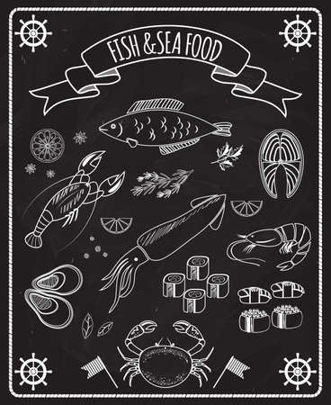 Illustration pour Fish and seafood blackboard vector elements with white line drawings of fish  ships wheels  calamari  lobster  crab  sushi  shrimp  prawn  mussel  salmon steak in a frame with a ribbon banner - image libre de droit