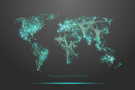 Illustration pour Polygonal world map. Global travel geography and connect, continent and planet, vector illustration - image libre de droit