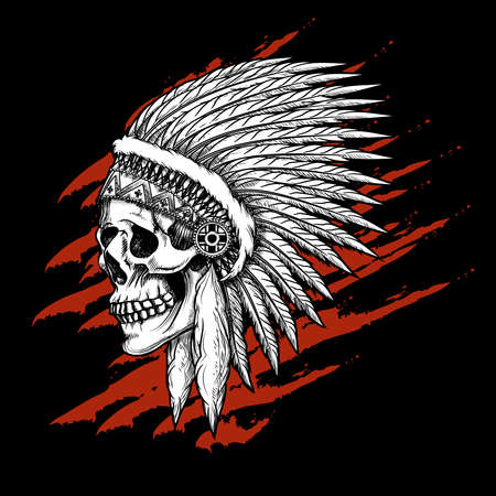 Illustration pour Indian tribal skull with feathers emblem. Aztec and mohawk, apache and warrior. Vector illustration - image libre de droit