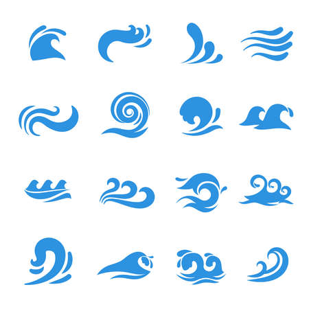 Illustration pour Wave icons. Water sea element, ocean liquid curve, flowing swirl storm, vector illustration - image libre de droit