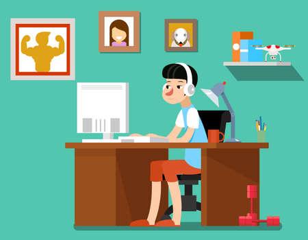 Illustration pour Freelancer at work, creative freelancer designer with computer, web technology, workplace employee. Freelancer vector illustration - image libre de droit