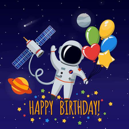 Illustration pour Cute astronaut in outer space. Congratulation happy birthday. Vector illustration background - image libre de droit