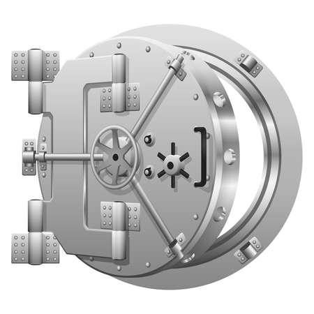 Illustration pour Half-open bank vault door on white. Safe bank, metal door safe, lock security bank, open safe bank. Vector illustration - image libre de droit
