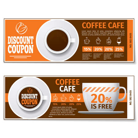 Illustration pour Coffee discount coupon or gift voucher. Label coffee discount, banner coupon, voucher coffee espresso, free gift illustration. Vector template - image libre de droit