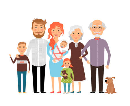 Illustration for Big happy family. Father mother son daughter grandfather grandmother. Vector illustration - Royalty Free Image