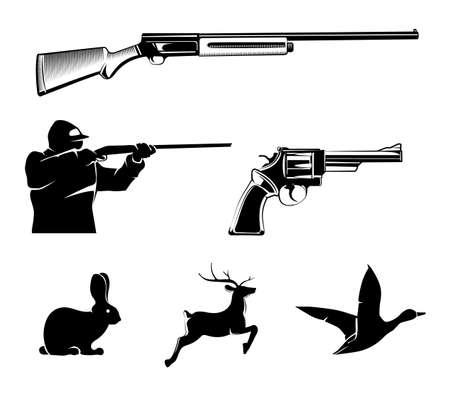 Illustration for Hunting vector elements for vintage labels and emblems. Deer and gun, hunt sport, pistol or revolver, wildlife and rifle illustration - Royalty Free Image