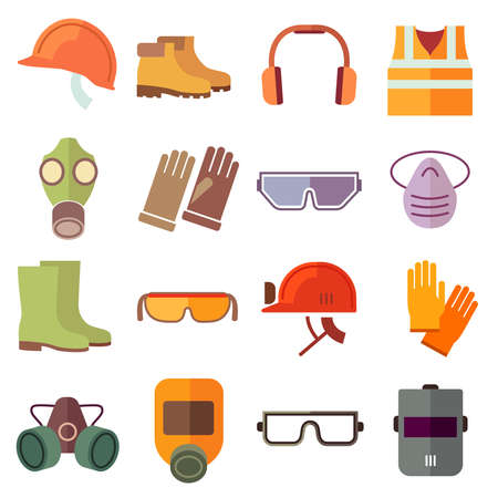 Illustration pour Flat job safety equipment vector icons set. Safety icon, helmet equipment, job industrial, safety headgear and protection boot illustration - image libre de droit