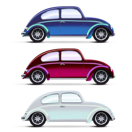 Illustration for Vector Mesh realistic multicolored Old cars on white. EPS10 opacity - Royalty Free Image