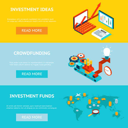 Illustration for Business investment banners. Crowdfunding, investment ideas and investment funds. Concept strategy, marketing and funding, investor financial, vector illustration - Royalty Free Image