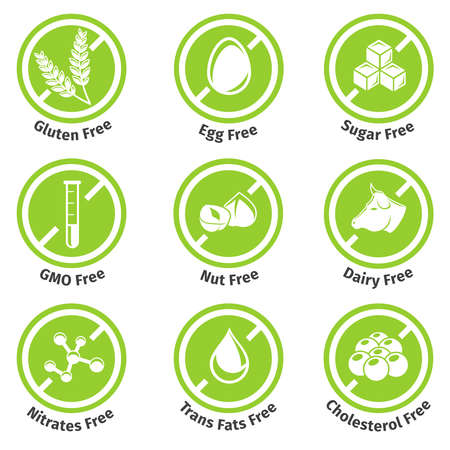 Illustration pour Allergen free products stickers. Eggfree and dairyfree, glutenfree and lactosefree. Vector illustration - image libre de droit