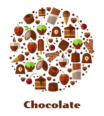 Ilustración de Desserts and delicacies, chocolate food round sign. Design snack product, breakfast biscuit confectionery. Vector illustration - Imagen libre de derechos