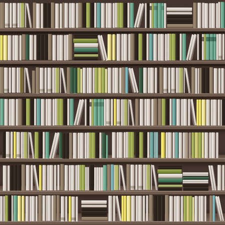 Illustration pour Vector large library bookcase background full of different white, yellow, green and brown books - image libre de droit