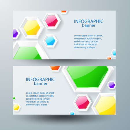 Illustration pour Web infographic horizontal banners with text and colorful glossy hexagons on gray background isolated vector illustration - image libre de droit