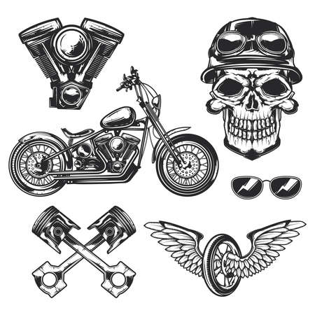 Illustration pour Set of biker and motorcycle for creating your own badges,  labels, posters etc. Isolated on white - image libre de droit