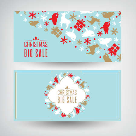 Illustration pour Vector set of two Christmas sale banners with information about discounts on the blue background decorated by the traditional objects and symbols vector illustration - image libre de droit