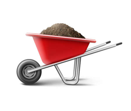 Illustration for Vector illustration of a red wheelbarrow for gardening full of soil isolated on white background - Royalty Free Image