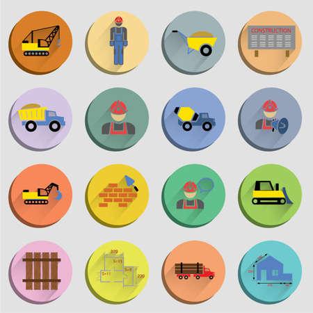 Illustration pour Construction flat icons set of site crane truck and mixer isolated vector illustration - image libre de droit