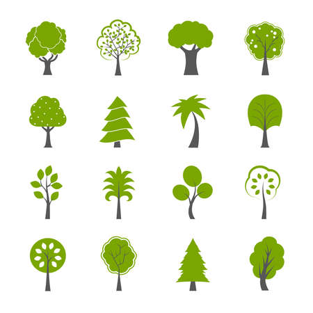 Illustration pour Collection of natural green trees icons set pine fir oak and other trees isolated vector illustration - image libre de droit