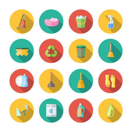 Illustration for Cleaning dusting and sanitation icons set of can bucket spray plunger isolated vector illustration - Royalty Free Image
