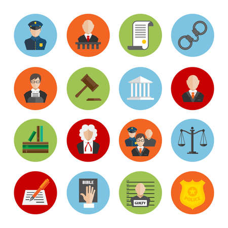 Illustration pour Law legal justice judge and legislation flat icons set isolated vector illustration - image libre de droit