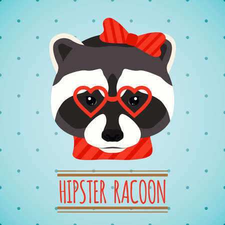 Illustration for Animal raccoon with glasses and bow hipster character portrait vector illustration - Royalty Free Image
