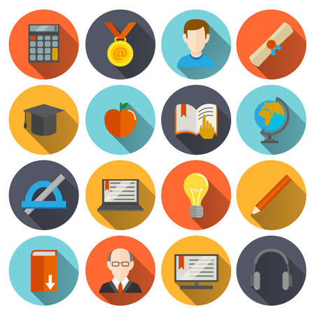 Illustration pour Education school university e-learning flat long shadow  icons set with science elements isolated vector illustration - image libre de droit